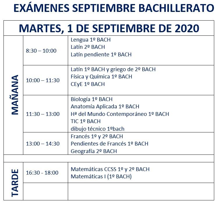 Bachillerato martes 2020